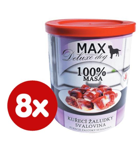 FALCO MAX Deluxe konzerve za odrasle pse, s piščančjimi želodčki in pustim mesom, 8x 800 g