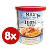 MAX Deluxe konzerve za pse, s koščki puste svinjine in lososom, 8x 800 g