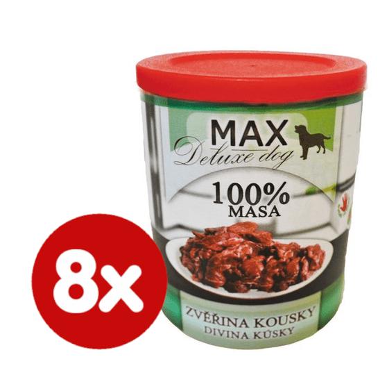 FALCO MAX Deluxe konzerve za odrasle pse, s koščki divjačine, 8x 800 g