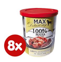 FALCO MAX Deluxe konzerve za pse, s koščki pustega mesa in srčki, 8x 800 g