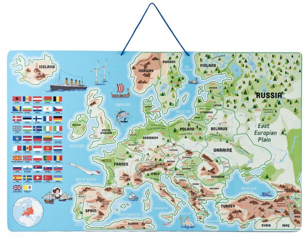 Woody Magnetická mapa Evropy, společenská hra 3 v 1 v AJ