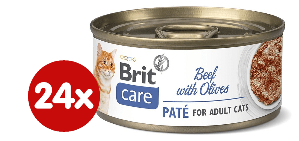 Brit Care Cat Beef Paté with Olives 24x70 g