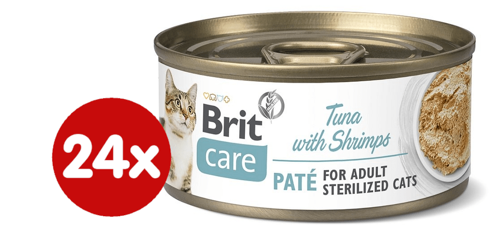 Brit Care Cat Sterilized Tuna Paté with Shrimps 24x70 g