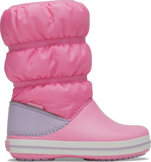 Crocs dievčenské snehule Crocband Winter Boot K Pink Lemonade/Lavender 206550-6QM