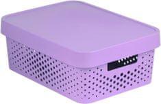 Curver úložný box INFINITY 11l s víkem růžový puntíky