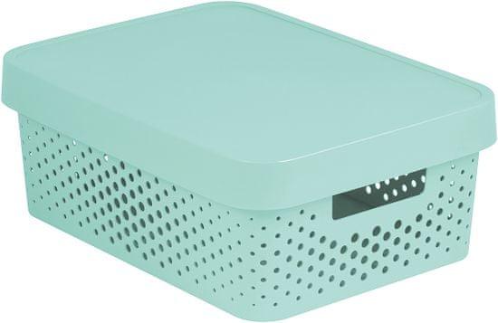 CURVER pudełko do przechowywania INFINITY 11l z pokrywą, mint, w kropki