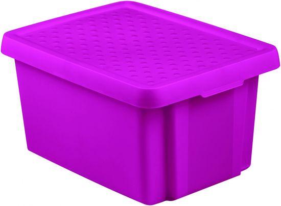 Curver úložný box ESSENTIALS 16l s víkem fialový