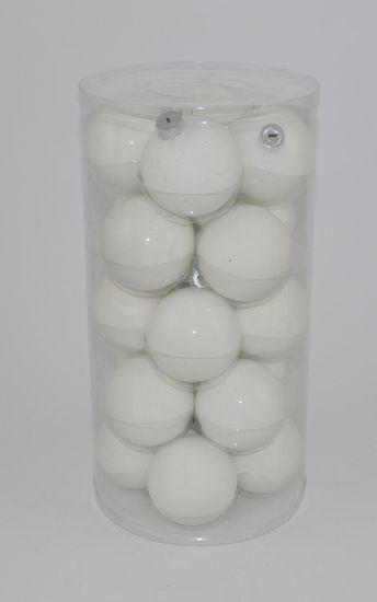 DUE ESSE komplet božičnih steklenih okraskov, bela/biserna, Ø 8 cm, steklene