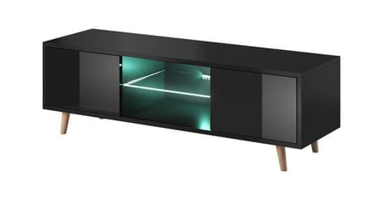 Furnitura TV omarica LARS črna visoki sijaj 140 cm + LED