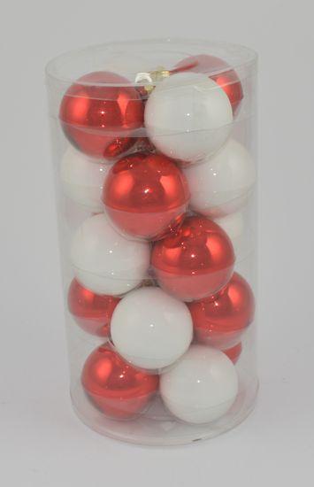 DUE ESSE komplet božičnih steklenih okraskov, bela/rdeča, Ø 7 cm, 20 kosov