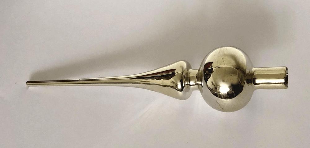 DUE ESSE Vánoční skleněná špička, zlatá perleť, 26 cm