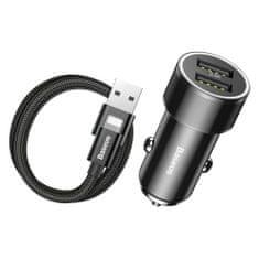 BASEUS Small Screw avtomobilski adapter 2x USB 3.4A + Lightning kabel 2A 1m, črna