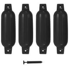 Greatstore Lodný nárazník 4 ks čierny 41x11,5 cm PVC