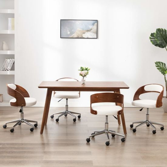 slomart Vrtljivi jedilni stoli 4 kosi beli ukrivljen les in um. usnje