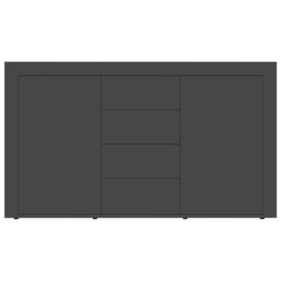 shumee Komoda visok sijaj siva 120x36x69 cm iverna plošča