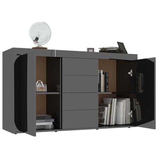 shumee Komoda na wysoki połysk, czarna, 120x36x69 cm, płyta wiórowa