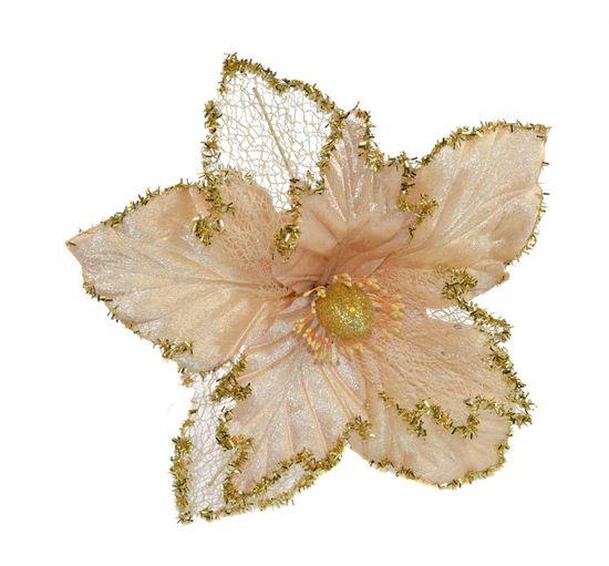 DUE ESSE Vánoční růže na stonku, béžová/zlatá, 48 cm