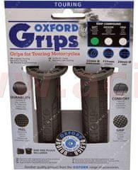 Oxford gripy Touring, OXFORD (tmavě šedá pryž, tvrdost pryže medium, na řidítka o průměru 22 mm, pár) OX604