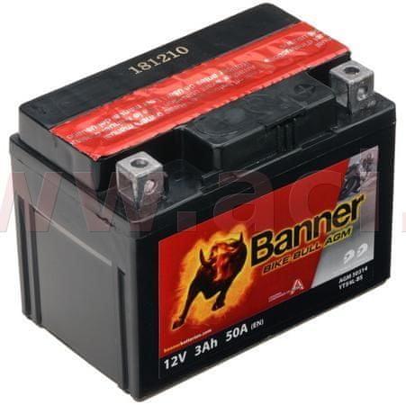 Banner baterie 12V, YTX4 l-BS, 3Ah, 50A, BANNER Bike Bull AGM 114x71x86 50314