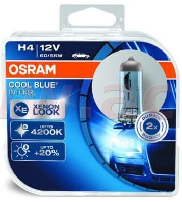 Osram žárovky H4 60/55W (patice P43t) OSRAM COOL BLUE INTENSE (2 ks v boxu) 64193CBI-HCB