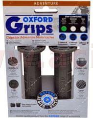 Oxford gripy Adventure, OXFORD (tmavě šedá pryž, tvrdost pryže medium, na řidítka o průměru 22 mm, pár) OX602