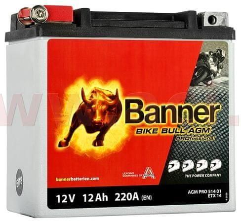 Banner baterie 12V, ETX 14, 12Ah, 220A, BANNER Bike Bull AGM PRO 150x88x145 AGMPRO 514 01