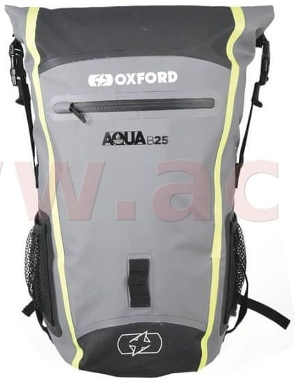 Oxford vodotěsný batoh Aqua B-25, OXFORD (černý/šedý/žlutý fluo, objem 25 l) OL466