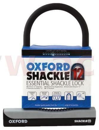 Oxford zámek U profil Shackle 12, OXFORD (šedý/černý, 245 x 190 mm, průměr čepu 12 mm) LK330