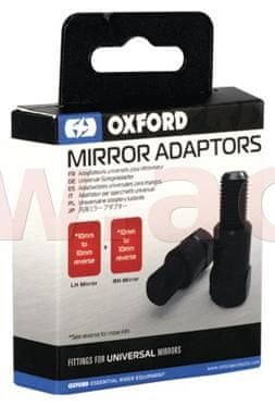 Oxford redukce závitu zp. zrcátek M10 na M10 levostranný, OXFORD (černá, pár, 1x redukce a 1x levostranný závit) OX581