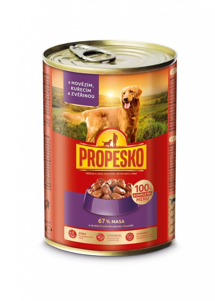 Propesko kousky pes hovězí, zvěřina, kuře 12x415 g