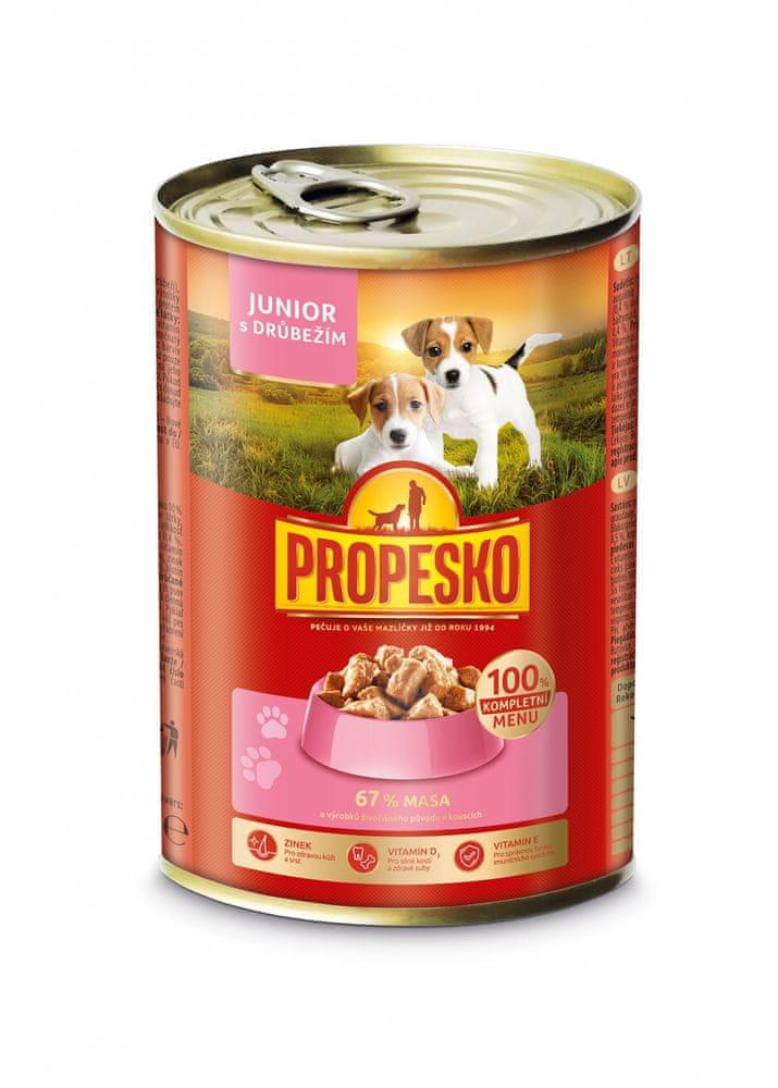 Propesko kousky pes Junior s drůbežím 12x415 g