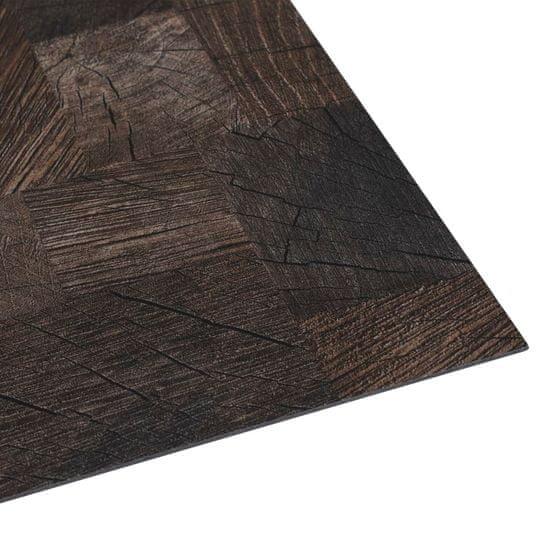 shumee Panel podłogowy PVC samoprzylepny, 5,11 m², drewnopodobny brąz