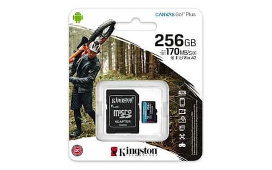 Kingston microSDXC 256GB Canvas Go Plus 170R A2 U3 V30 + adaptér (SDCG3/256GB)