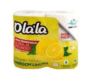 Olala Extra Absorbent Limona brisače v roli, bele, 3-slojne, 23 cm, 2 rol/pak.