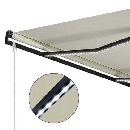 shumee krémszínű szélérzékelős és LED-es napellenző 400 x 300 cm