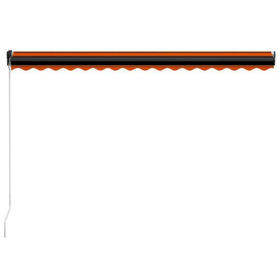 shumee narancs és barna kézzel kihúzható LED-es napellenző 450x300 cm