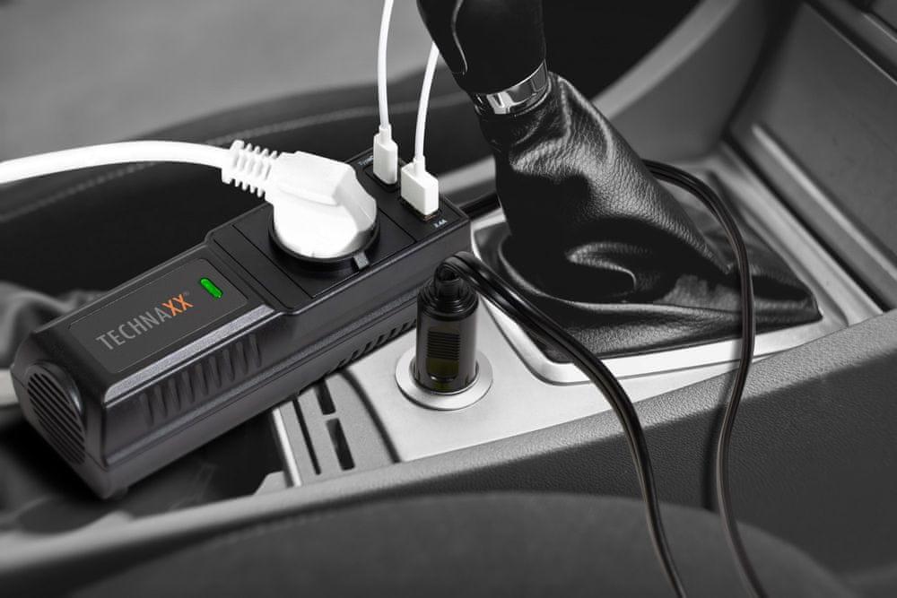 Technaxx Měnič napětí 200 W, DC 12 V na 2× USB a 1× 230 V (TE21) 4855
