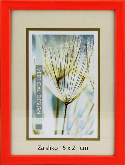 Karako Foto okvir 15x21 cm, iz lesa, namizni, stenski, 10 oranžna