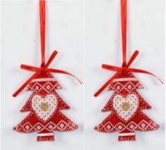 DUE ESSE božično drevo, okrasek, rdeč, 2 kosa