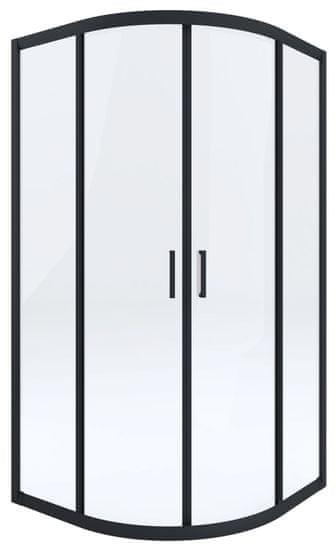 Deante Funkia KYP N51K polkrožna tuš kabina, 90 cm, R550, prozorno steklo, črni profili