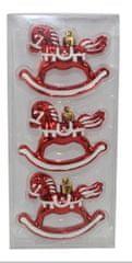 DUE ESSE Set 3 ks vánočních ozdob houpací kůň, 8 cm, červená/bílá