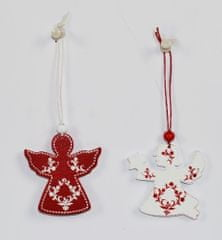 DUE ESSE komplet božičnih okraskov, angel, 6x rdeč, 6x bel