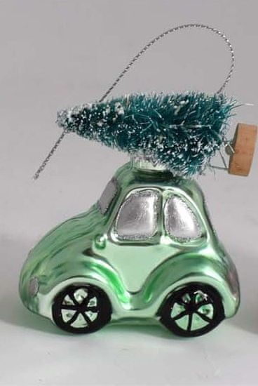 DUE ESSE Vánoční ozdoba auto se stromkem, zelená, výška 8 cm