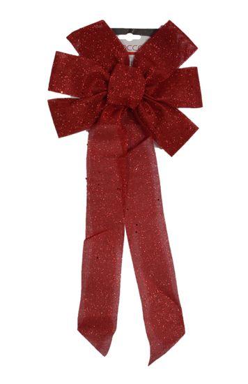 DUE ESSE Božićna mašna sa šljokicama, crvena, 55 cm