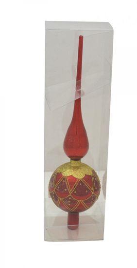 DUE ESSE Vánoční skleněná ozdoba - špička, červená, 33 cm