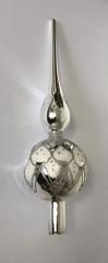 DUE ESSE špica, božičen steklen okrasek, srebrna, 33 cm