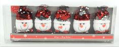 DUE ESSE komplet obeskov, bleščeči snežaki, 5 kosov