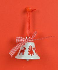 DUE ESSE komplet božičnih okraskov, zvonček, Ø 5 cm, belo-rdeč, 6 kosov