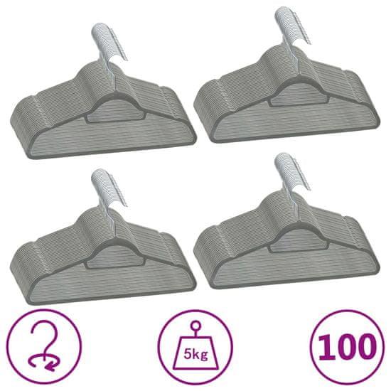 shumee Obešalniki 100 kosov nedrseči sivi žamet