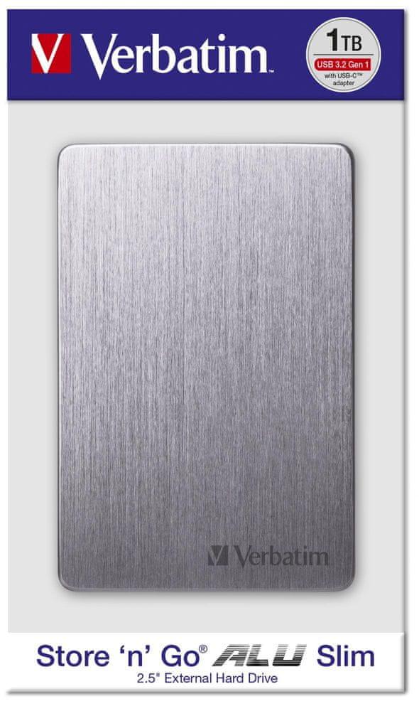 Verbatim Store´n´ Go ALU Slim 1TB, vesmírně šedá (53662)